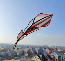 Stained Glass Suncatcher Rose Baroque Feather  Handmade