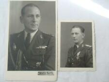 Romania Romanian Lot of 2 Photos Military Officer wearing Academy badge & order