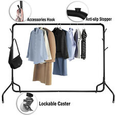 More details for 6ft heavy duty clothes rail metal home shop garment hanging display stand rack