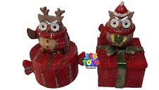 Set of 2 Novelty Xmas Christmas Nativity Owl Trinket Storage Jewellery Lolly Box