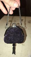Vintage Micro Purple Velour/Satin Kiss Lock Purse/Coin Purse with Beaded Tassel