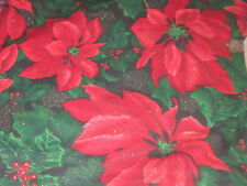 """Glittery Christmas holiday fabric material sparkles tablecloth pinecones 62x80"""""""