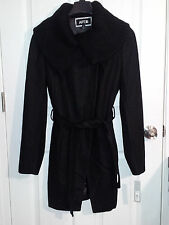 Apt. 9 Women's Sweater Trim Ribbed  Black Wool Coat - Size M