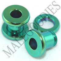 0533 Green Surgical Steel Screw-on/fit Flesh Tunnels 2 Gauge 2G 6mm Ear Plugs