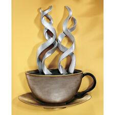 Pop Art Steaming Cup of Coffee Cafe Java Metallic Tones Wall Sculpture