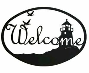 Wrought Iron Welcome Sign Lighthouse & Birds Silhouette Outdoor Plaque Decor