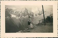 France, au Brévent, les Aiguilles de Chamonix  Vintage silver print Tirage a