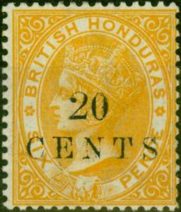 British Honduras 1888 20c on 6d Yellow SG29 Fine Very Lightly Mtd Mint