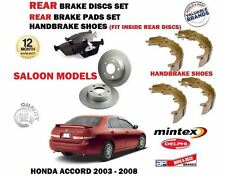 FOR HONDA ACCORD 2003-2008 REAR BRAKE DISCS + DISC PADS + HAND BRAKE SHOES SET