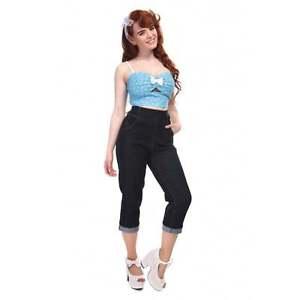 Collectif Coco Denim Capri Cropped Jeans Blue 50s Retro Vintage Rockabilly