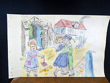 Lovely Watercolor Painting Young Love Children Kissing 1940's Original