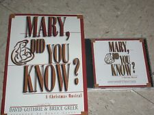 MARY, DID YOU KNOW? A Christmas Musical Choral Book +Music CD Guthrie Greer
