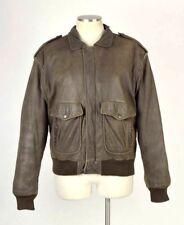 Vtg 90s Hard Rock Hotel Madrid Spain Brown Leather Bomber Flight Jacket Mens S