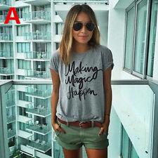 Women Summer Casual Cotton Blouse Short Sleeve Shirt T-shirt Blouse Top L