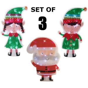 Santa & Elves LED Christmas Light Silhouette Indoor Window Elf Decoration 47cm