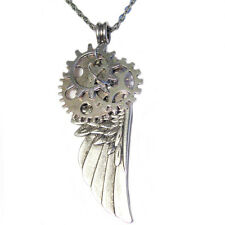 STEAMPUNK ANGEL WINGS w/ GEARS PENDANT SILVER PLATED NECKLACE Handmade USA