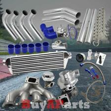 Chrome Intercooler Piping Blue Couplers Turbo Kit for 88-00 Honda Civic D-Series