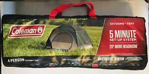 Coleman 4-Person Skydome Camping Tent, Evergreen with Carry Bag (2000035801) NEW