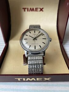 Vintage Mens Timex Watch Made In GB 1975 Steel Case Flexi Strap With Box