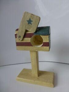 American Flag U.S. Mail Wooden Mailbox Stamp Roll Dispenser