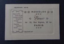 Carte de visite MODELES VERNE robe de bal costume domino ruche PARIS visit card