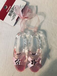 BALLET SHOES ACRYLIC PINK CLEAR ORNAMENT