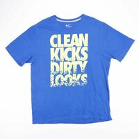 Vintage NIKE CLEAN KICKS Blue & Yellow Big Logo Sports T-Shirt Size Men's XL