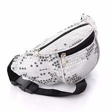 Silver Sequin Bum Bag Fanny Pack Festival Holiday Money Waist Belt Accessories