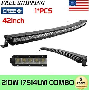 "42""Inch 210W Slim Curved LED Light Bar Single Row Spot Offroad SUV Tractor 240W"
