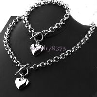 Women's Stainless Steel 8mm Rolo Chain Solid Heart Toggle Bracelet Necklace Set