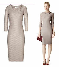 Reiss Tatiana Beige Lace Cowl Neck Jersey Bodycon Pencil Cocktail Dress Size 10