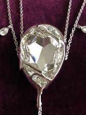 "Swarovski Liquid Long Necklace CRY/RHS 29.5""  Pear Shape White Crystal Pendant"