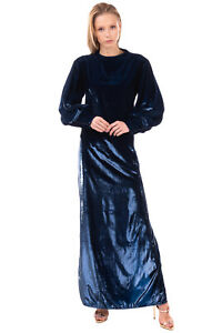 RRP €680 L'AUTRE CHOSE Maxi Dress Size 44 / L Metallic Fuzzy Made in Italy