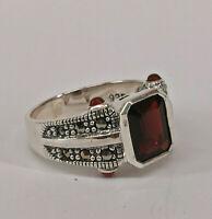 9927867 925er Silber Granat-Markasit-Ring Gr.56  Vintage