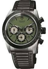 Tudor Fastrider Chronograph Black Ceramic Bezel on Strap 42mm Green Dial 42010N