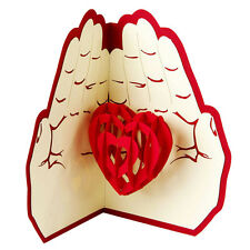 Heart in Hands 3D Greeting Card Valentine Anniversary Birthday Pop Up Postcard