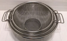 New listing 3 Piece Colander Strainer Set Stainless Steel Mesh Baskets With Side Handles Euc