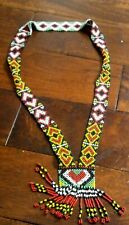 Vintage Beaded  Native Indian American NECK TIE  Necklace Beadwork beads