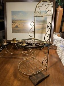 Mid Century Gold Metal Vanity/Bathroom Wall Shelf~Vintage Hollywood Regency