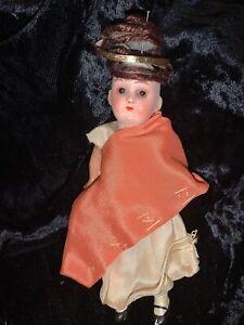 "Antique German Bisque 6"" Girl Doll Original 1900s Glass Eyes"
