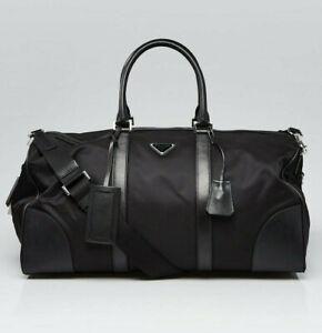PRADA 2VC350 Nylon and Saffiano Leather Duffle Bag Weekend / Travel Bag Black