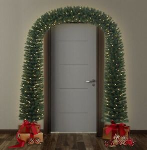 Pre-Lit 8FT  Artificial Christmas Arch Tree With Metal Base 420 Warm White LEDs