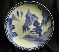 """Large Imari Charger Blue & White Japanese Landscape Pottery 12 5/8"""""""