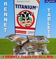 50 + 5 FREE RENNET TABLETS TITANIUM VEGETARIAN COAGULANT FOR  CHEESE MAKING