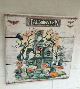 Rustic Halloween Trick or Treat shabby vintage chic sign hanging plaque
