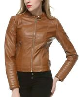 Women Real Leather Brown Soft Lamb Skin Genuine Leather Jacket