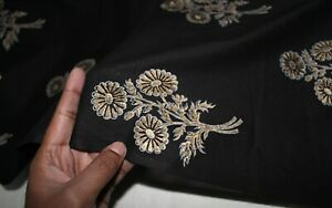 Indian Floral Hand Block Print Gold & Black Fabric Cotton Fabric 1 Yards Crafts