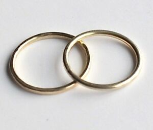 TWO 18k THIN GOLD BAND RINGS x 2 hand made to your size LONDON HALLMARK new