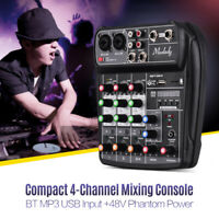 AI-4 Compact Sound Card Mixing Console Digital Audio Mixer 4-Channel BT MP3 USB