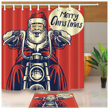 Santa Claus Old Motorcycle Waterproof Fabric Shower Curtain Bathroom 71 Inches